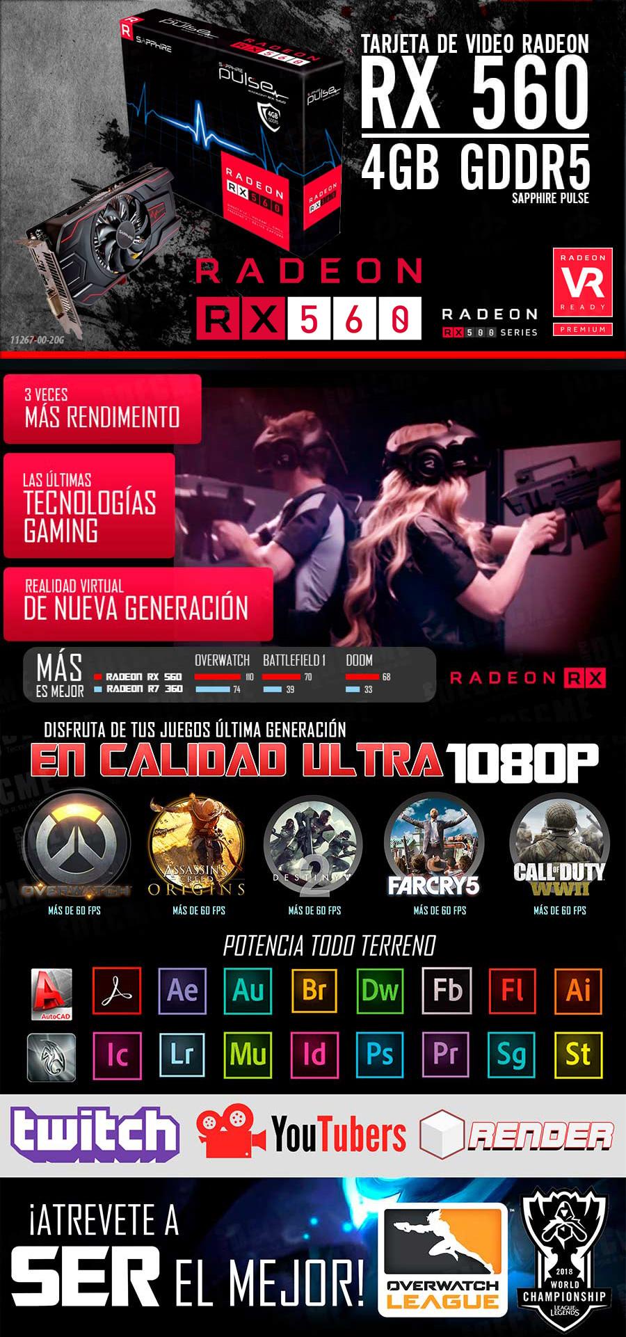 nueva pc gamer gama meda alta con tarjeta de video amd radeon rx 560 4gb ddr5 juegos en graficas altas en mexico