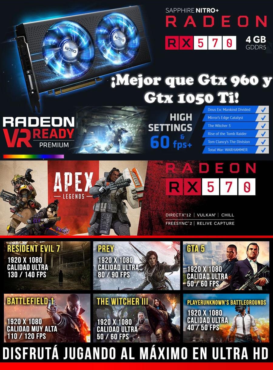 OFERTA! PC GAMER BARATA CON TARJETA GRAFICA AMD RADEON RX 570 4GB TODOS LOS JUEGOS EN ULTRA