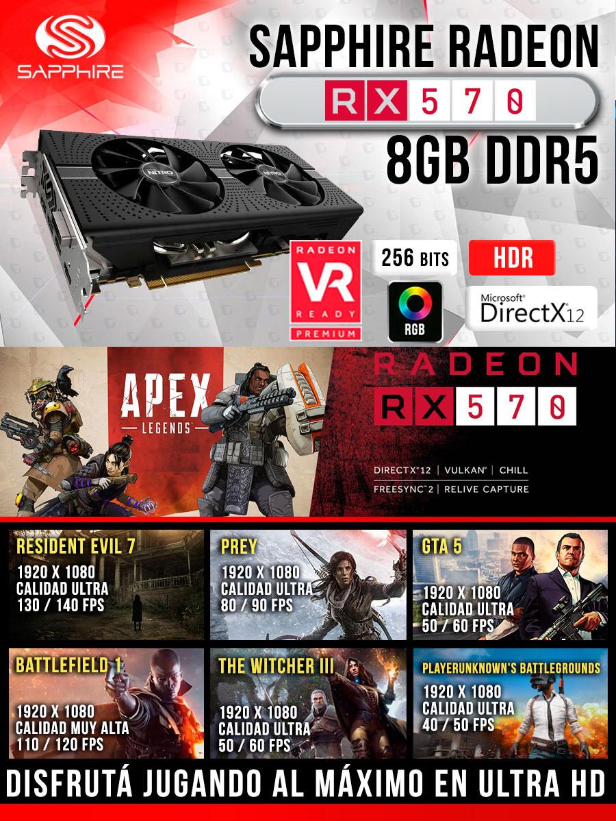 Pc gamer radeon rx 570 8gb g-ddr5 economica alto rendimineto la mejor configuracion a bajo costo