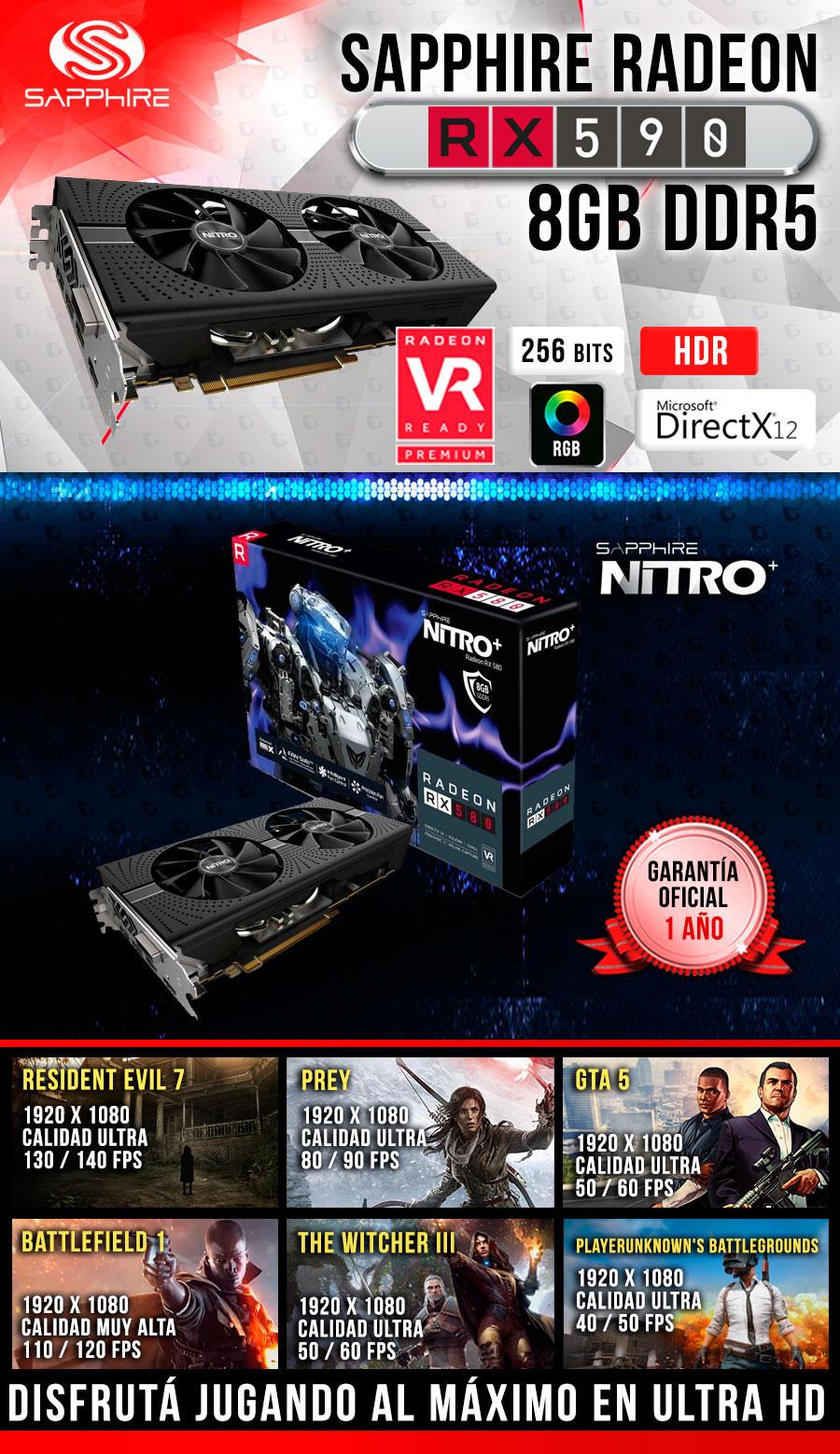 nueva computadora gamer 2019 con tarjeta de video radeon rx 590 8gb ddr5
