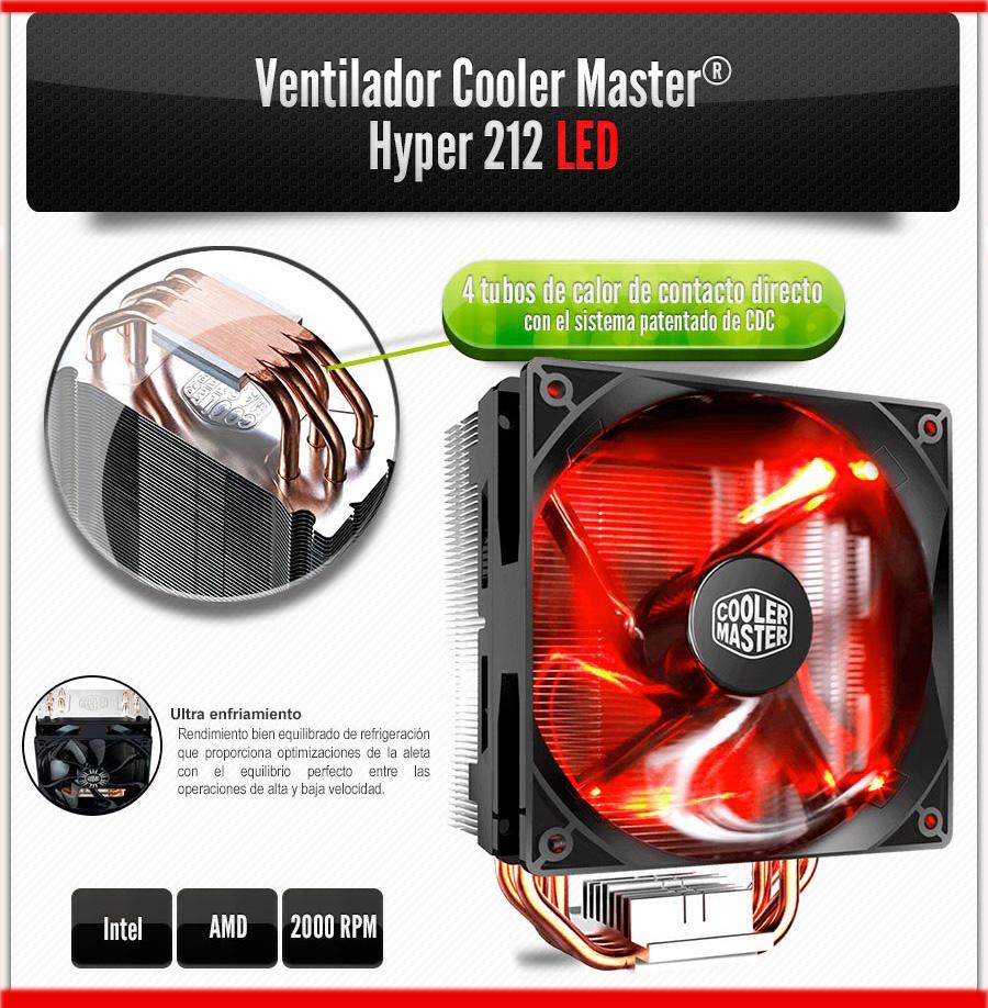 pc gamer con el mejor sistema de enfriamineto cooler master hyper 212 evo led en mexico