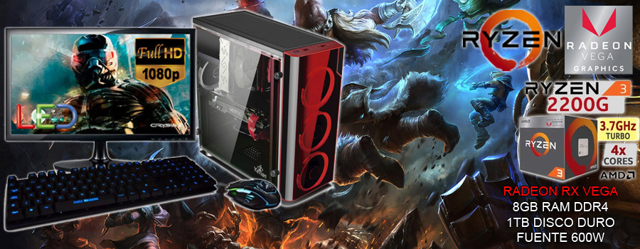 oferta! pc gamer barata gama media-baja completa con monior ryzen 3 video radeon vega
