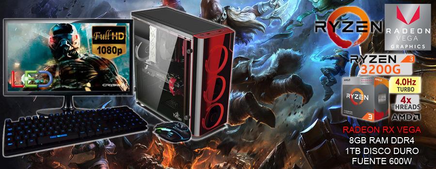Nueva pc gamer barata 2019 ryzen tercera generacion 3200g video radeon rx vega corre todos los juegos