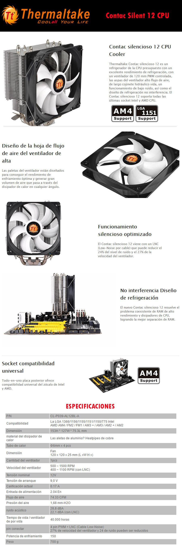 DISIPADOR GAMER PARA PC EN OFERTA ECONOMICO THERMATAKE CONTACT SILENT 12 EN MEXICO