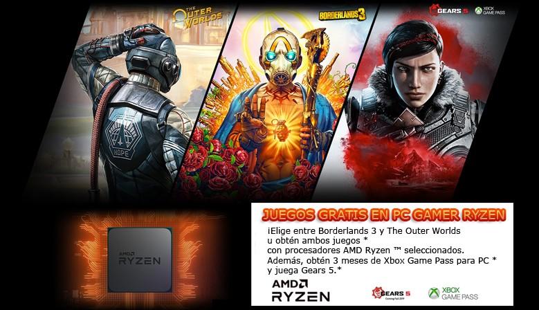 juegos gratis en la compra de pc gamer amd ryzen